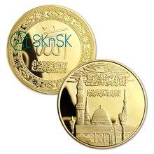 Pièces de monnaie souvenirs en métal plaqué or darabie saoudite   Vente en gros, pièces de collection avec étui en plastique 50 pièces/lot