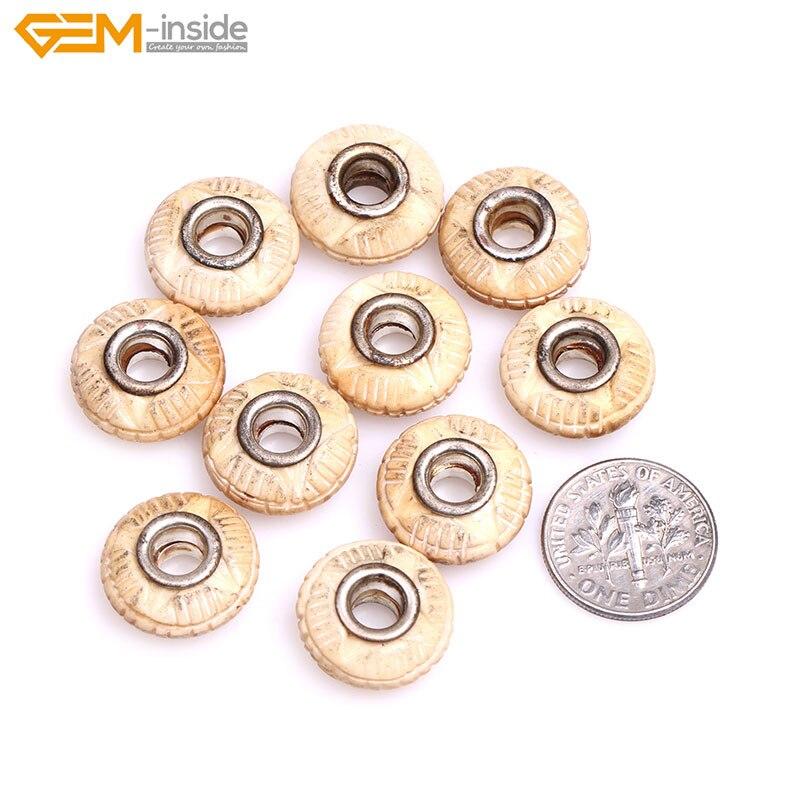 10 pièces fait à la main 8x16mm grand trou (taille du trou 6mm) Rondelle Donuts Heishi perles entretoises perles dos de boeuf naturel fabrication de bijoux perles