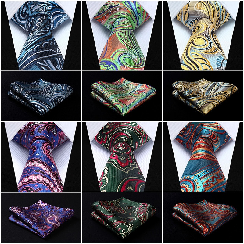 "Bolsillo cuadrado clásico para fiesta boda Paisley floral 3,4 ""seda tejido boda hombres bolsillo corbata conjunto de pañuelo y corbata # P8"