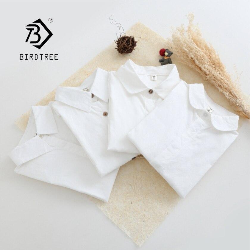 2019 blanco de primavera camisa de oficina de señora desgaste abotonada de madera Turn Down Collar de manga larga de algodón Feminina Formal blusa caliente T92502F