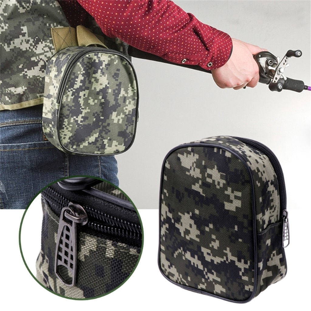 Camouflage Vissen Reel Mini Bag Pocket Visgerei Pouch Case Outdoor Sport Pouch Case Outdoor Camping Vissen Opbergtas