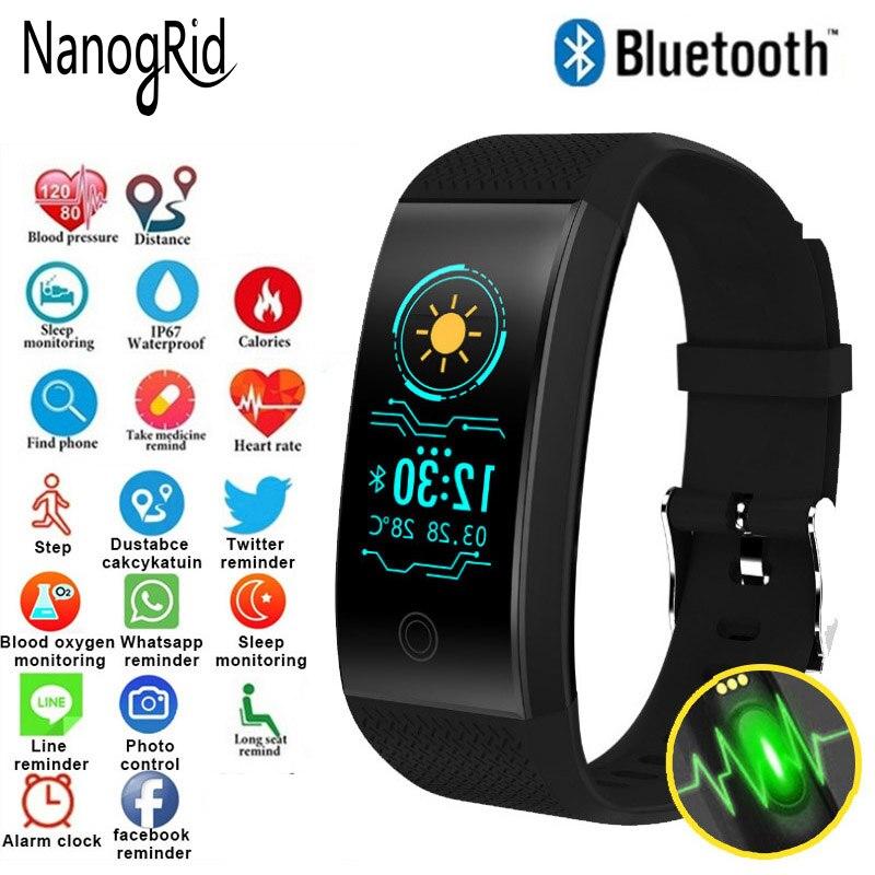 Pantalla de Color pulsera de Fitness Mujer hombres niños banda inteligente podómetro pulsera Monitor de ritmo cardíaco reloj de seguimiento a prueba de agua