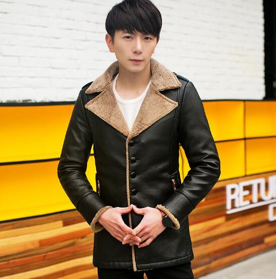 حار/الربيع الذكور موضة جديدة وأضاف أكثر المخملية طويلة محاكاة الفراء معطف بولي Jacket سترة جلدية