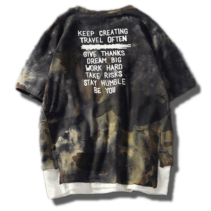 Camuflagem rasgado t-shirts roupas masculinas 2020 5xl streetwear militar manga curta hip hop tshirt algodão retalhos camiseta ts31