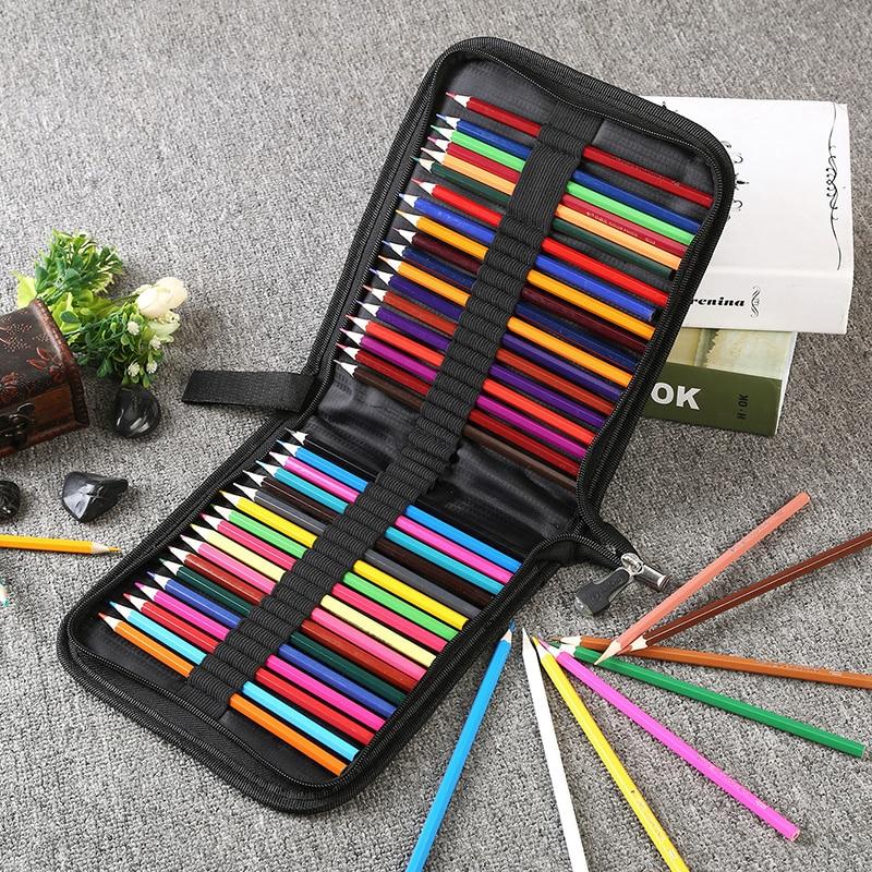 Black Oxford Folding Zipper Pencil Bag for 36/48/72/120 Pencils/Eraser/Knife Canvas Stationery Storage