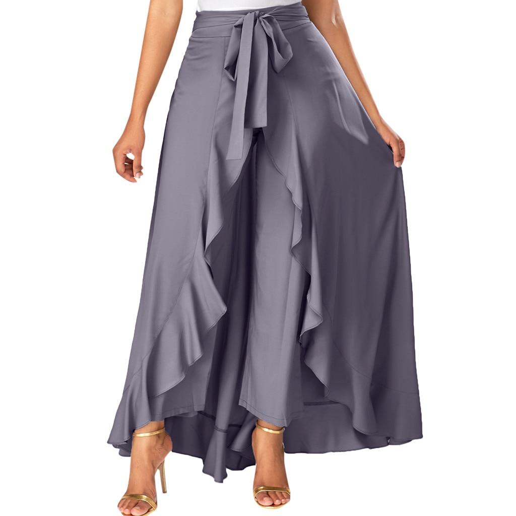 CHAMSGEND spódnica damska 2019 kobiet szary z boku na zamek błyskawiczny Tie przednia nakładka spodnie wzburzyć spódnica łuk długa spódnica lato solidna spódnica mar5