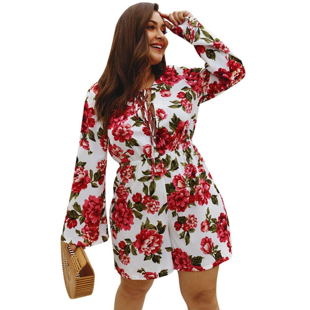 XL-4XL Plus Size Playsuits Women Vintage Boho Holiday Big Size Playsuit Floral Print Body Femme Girls Sexy Large Size Jumpsuits