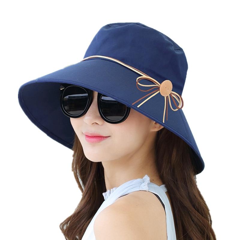 2019 nueva simple mujer verano playa viaje Bowknot sombrero de ala ancha sol Reversible plegable Cap girls Hat