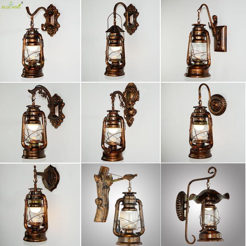 Ретро винтажная керосиновая настенная лампа, прикроватная настенная бра для спальни, кованое стекло, для ресторана, бара, прохода, светильн...