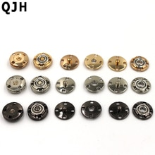Boutons de couture pour vêtements   Fournitures de couture à boutons pression invisibles noirs or argent 12mm, vente en gros, boucle foncée, 10 pièces/lot