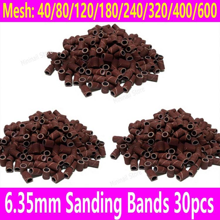 30pcs Sanding Bands Sleeves Nail Art Drill Bits 6.35 Bore Diameter 80 120 180 mesh Sandcloth Sanding Sanders Electric Nail Tools