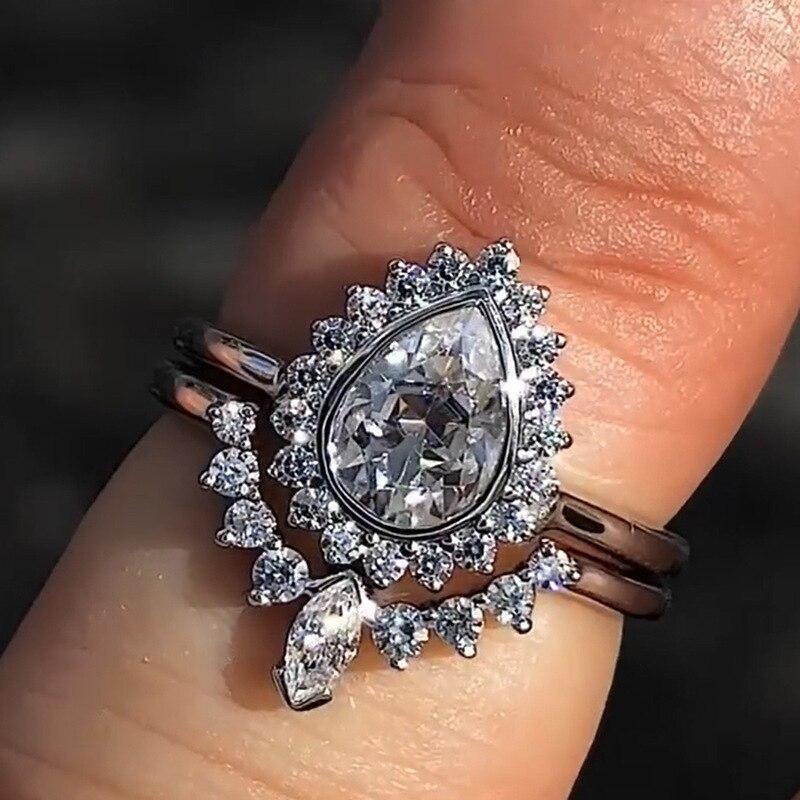 Nuevo juego de anillos de circonita de cristal en forma de pera para mujer, corona de moda, anillos de compromiso para boda, joyería para fiestas, banquetes, mujer