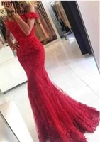 lace appliques beads robe de soiree red mermaid 2021 formal dress plus size evening gown dresses for women