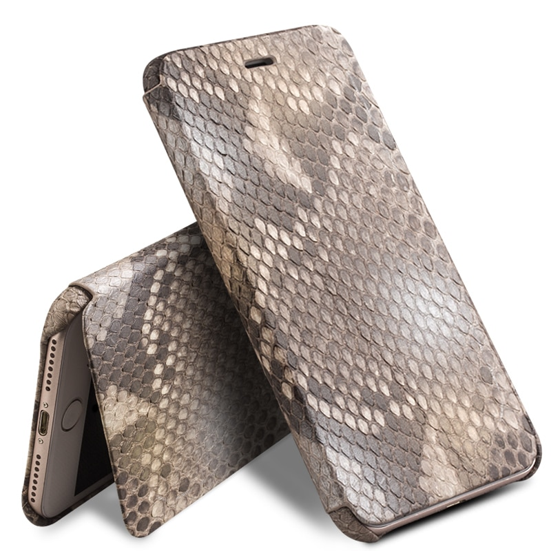 QIALINO Genuine Leather Fashion Flip Case for iPhone 8 Custom-built Python Skin Phone Cover for iPhone 8 plus for 4.7/5.5 inch