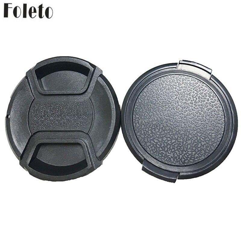 Foleto tapa de objetivo Snap en pellizco central lente de protección 49 52 55 58 62 67 72 77 82mm Universal para Canon Nikon Sony Pentax