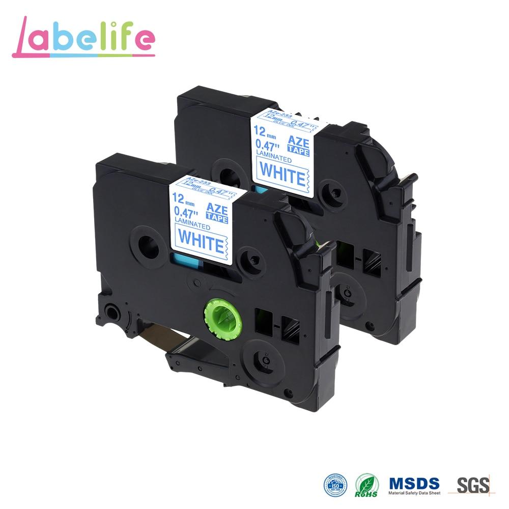 Labelife 2 Pack TZe-233 TZ-233 TZ233 TZe233 azul en blanco 12mm hermano Compatible impresora electrónica etiqueta laminada cinta