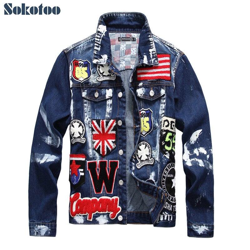 Sokotoo Men's flag letters patch design painted denim jacket Slim fit skull badge patchwork long sleeve jean coat Outerwear