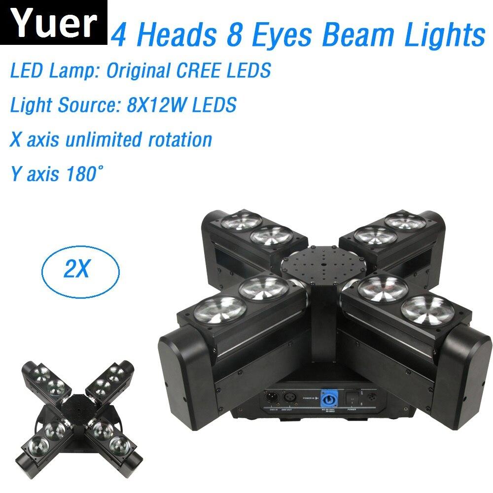 2XLot LED CREE Original más nuevo 8X12W RGBW 4IN1 luces de haz de cabeza móvil DMX efecto de lavado de escenario luces buenas para discotecas KTV