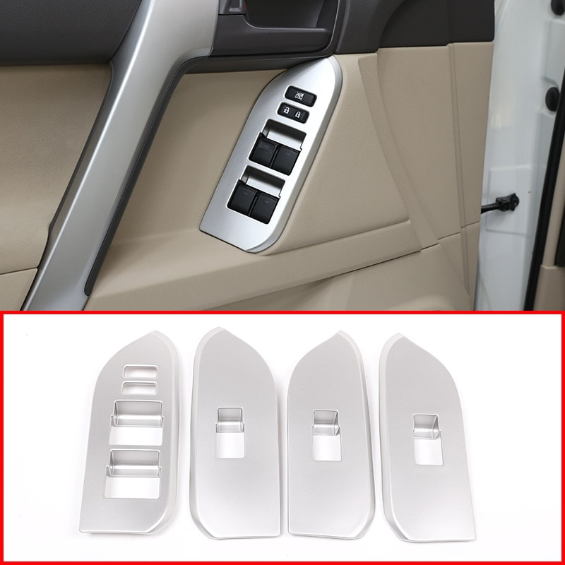4pcs For Toyota Land Cruiser Prado FJ150 150 2010-2018 Door Window Switch Cover Interior Armrest Panel Trims Car Accessory LHD
