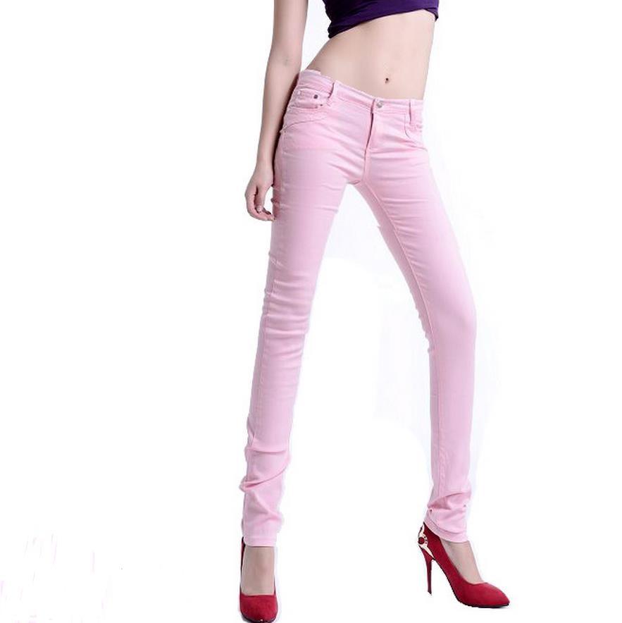¡Caliente! Pantalones de mujer talla grande moda casual Mujer Pantalones de lápiz verde militar legging pantalones vaqueros elásticos Rosa tamaño elástico L-XXXL