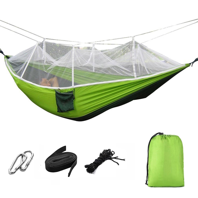 Hamaca de persona doble portátil de tela de paracaídas con red de viaje al aire libre camping hamaca columpio hamaca para supervivencia estera de camping