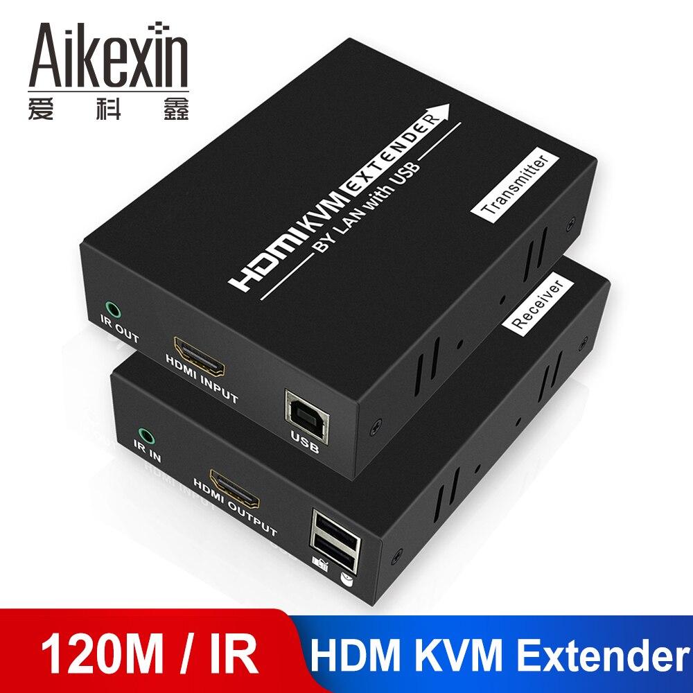 Extensor HDMI 100m 120m con control de ratón 1080P HDMI KVM extensor sobre Cat 5e/Cat6 Lan RJ45 Cable de red HDMI extensor con IR