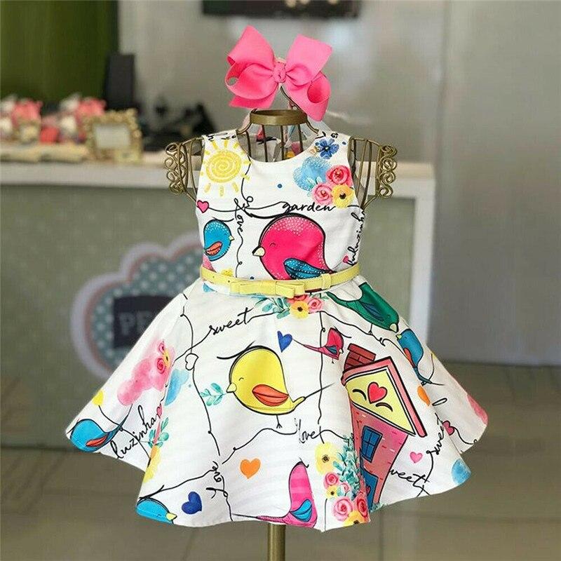 Niños Niñas pájaro vestido Formal sin mangas cuello redondo fiesta vestido de princesa Pageant chicas alta cintura Sundress con cinturón de Arco 1-5T