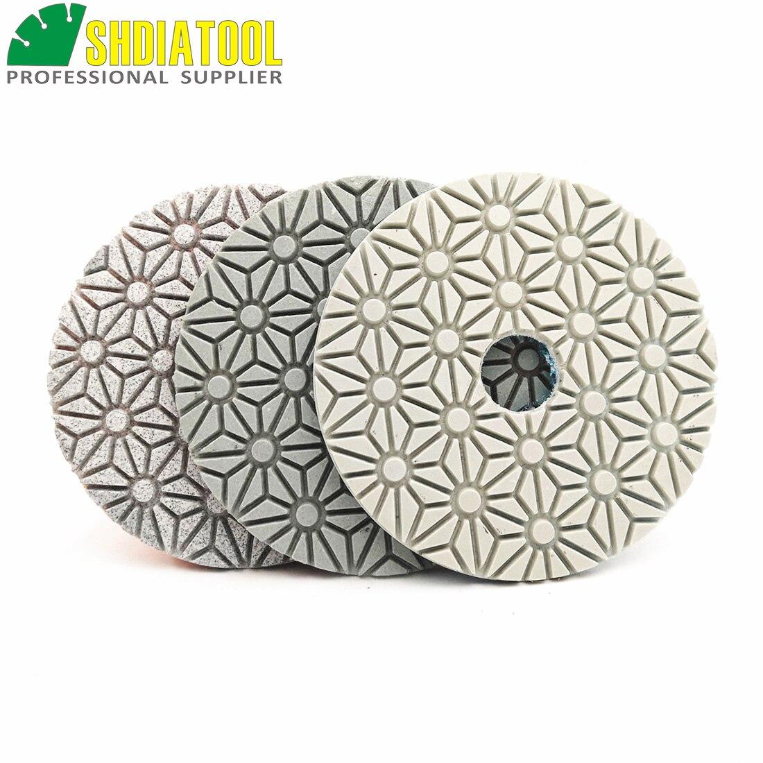 Shdiatool para dia, disco de lixa de diamante molhado ou seco, flexível 100mm/4 e 3 passos almofada mármore macio pedra polidor disco