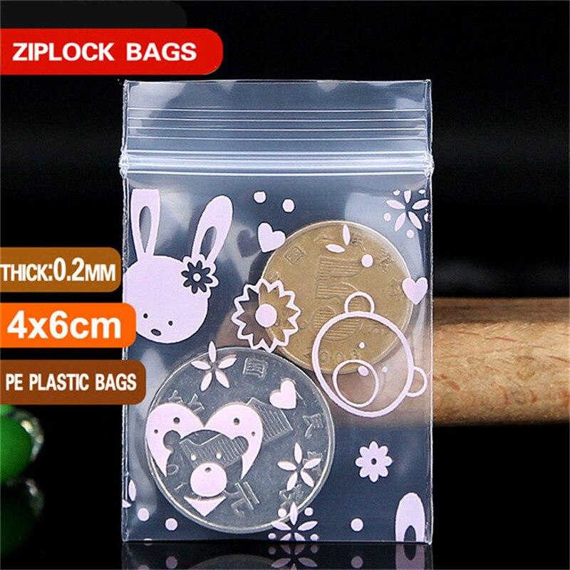 0,2mm de espesor pequeño colores de plástico con cremallera bolsas de Ziplock bolsa Ziplock mochila de pastilla bolsas Mini bolsas con cierre bolsa de embalaje de plástico