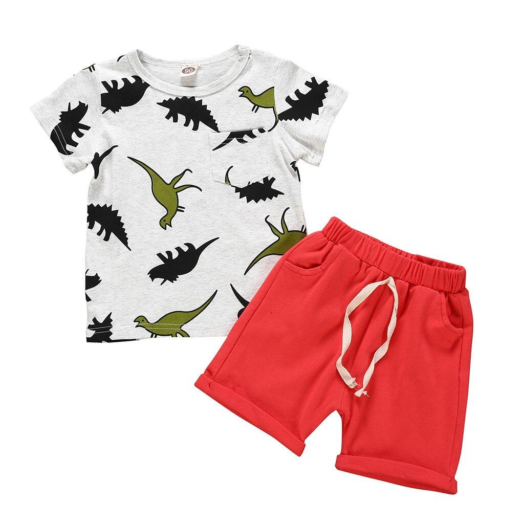 Conjuntos de ropa para bebés recién nacidos conjuntos de dibujos animados dinosaurio de manga corta Camiseta pantalones cortos 2PC kit Dropshipping babyborn Rupa infantil