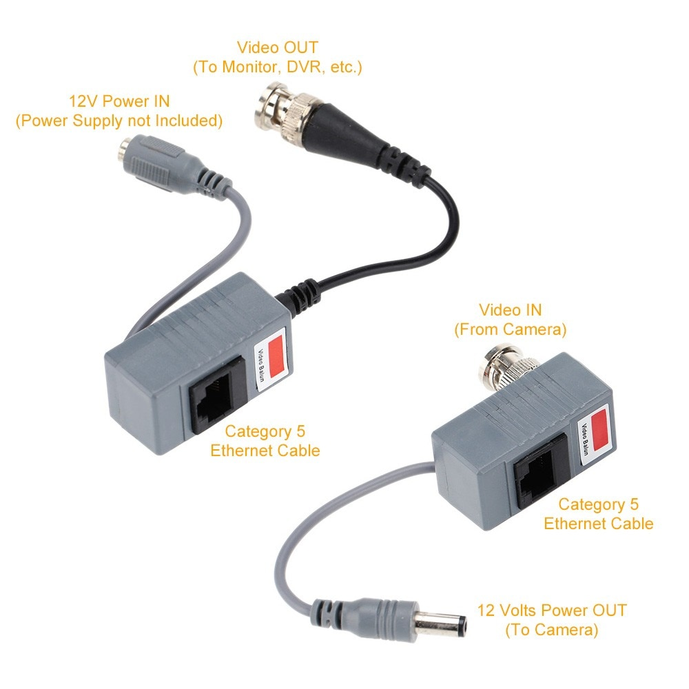 5Pairs CCTV Video Balun Coax BNC Video Power Balun Transceiver to CAT5e/6 RJ45 Connector For CCTV Camera System enlarge