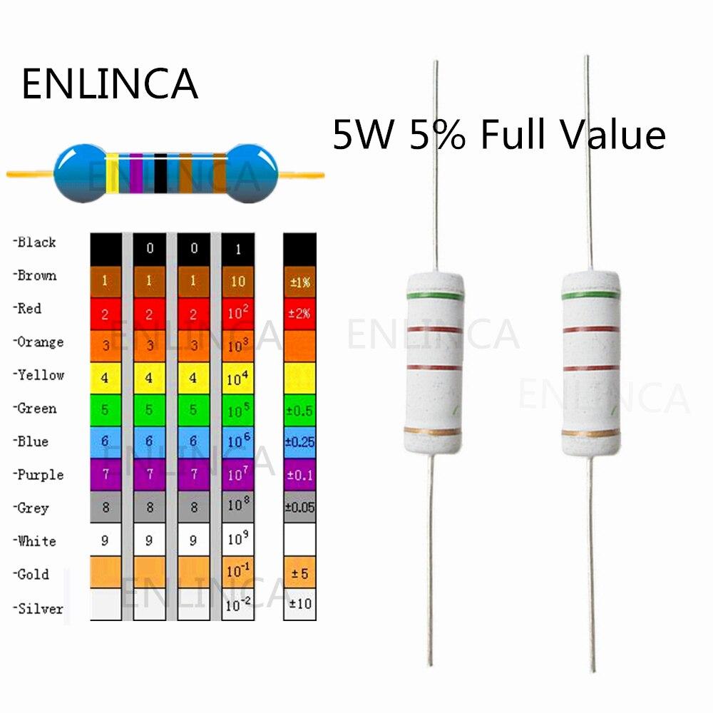 10 Uds 5W 82K 100K 110K 120K 150K 200K 82KR 100KR 110KR 120KR 150KR 200KR ohm 5% resistencia de película de metal anillo de color resistencia 5W