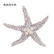 EASYA Beautiful Korean high-end Fashion Luxury Imported Alloy Rhinestone Brooch Starfish Brooch Pin