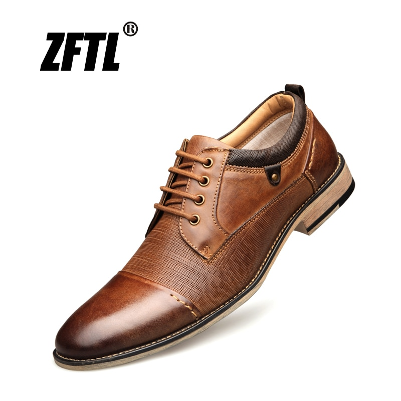 Zftl novo homem vestido sapatos tamanho grande couro de vaca sapatos de negócios masculinos rendas sapatos formais moda masculina sapatos artesanais marrom 01