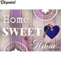 Dispaint     peinture diamant  Home sweet   broderie complete  points de croix  strass  decor inacheve pour la maison  A10341