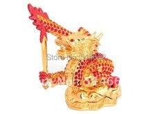 Statue de dragon rouge en métal Feng shui   statue de dragon rouge en forme de bebijoutier, épée flamboyante, statues de dragon chinois