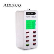 AIXXCO écran daffichage Charge rapide QC3.0 adaptateur USB chargeur intelligent 8 ports chargeur de bureau téléphone portable chargeur de voyage QC2.0