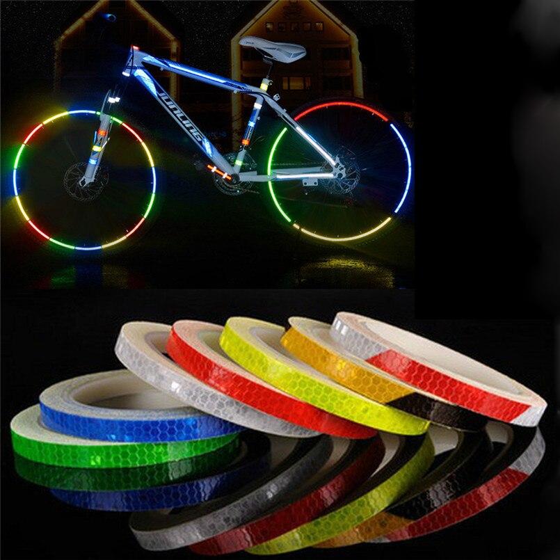 Adhesivos reflectantes para motocicleta, Reflector de bicicleta, bicicleta, seguridad de ciclismo, pegatina de llanta, cinta más segura, duradera, no se decolora, luz de bicicleta B2