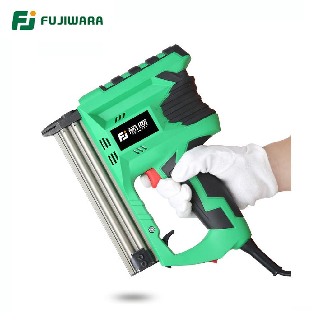 FUJIWARA Electric Nail Gun Professional F30 Straight Nailing Tool Pneumatic Fast Continuous Shooting Woodworking