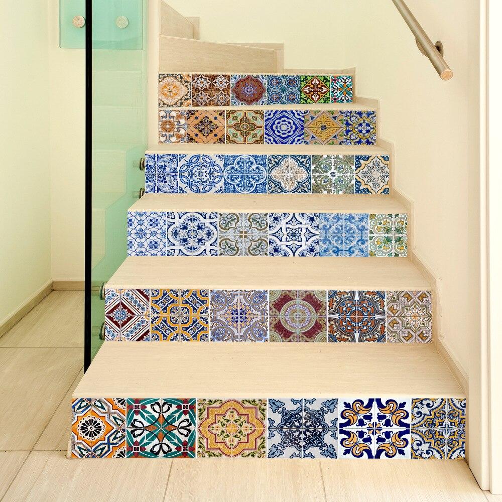 Funlife 3D Estilo Marroquino Escadas Quarto Adesivo de Parede Criativo Adesivos DIY Telhas Remover a Decoração Home Etiqueta Auto-adesiva