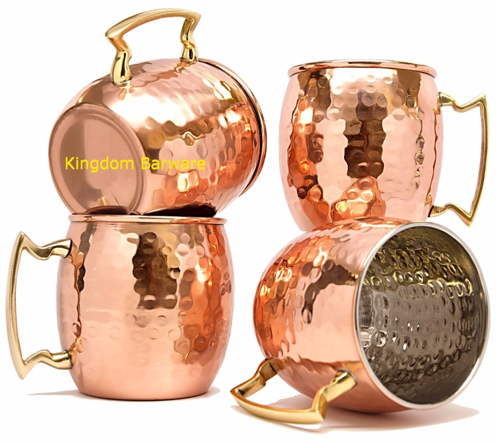 4 Uds. De taza de mula de Moscú martillado, barril Chapado en cobre, taza de café, Juego de 4 tazas de cerveza