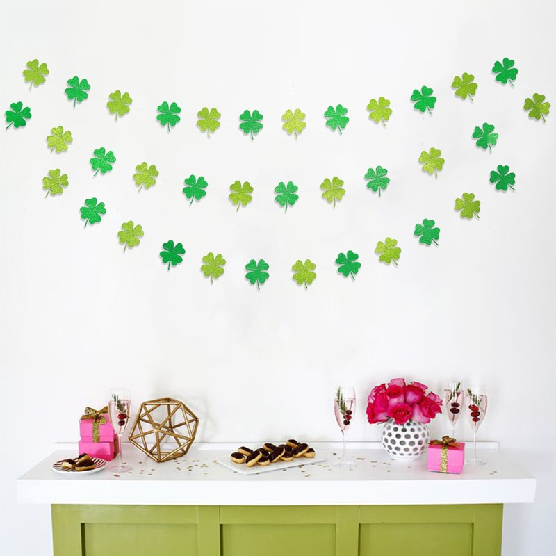 4M papel verde trébol irlandés pancartas trébol de cuatro hojas guirnalda decoración fiesta y desfile decoraciones suministros para fiestas de boda