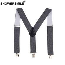 SHOWERSMILE mâle adulte bretelles gris large 5cm hommes bretelles pour pantalon 3 Clips élastique marque homme pantalon accessoire 120cm
