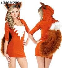 Anime Cosplay robe femmes adulte Animal Costume femmes renard Costume avec queue Halloween robes Sexy scène Costumes
