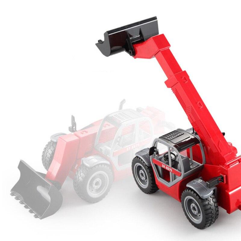 Remote Control Telescopic Arm Loading Forklift RC Truck One Key Demo Simulation Boom Truck Shrinking Shovel Engineering Model enlarge