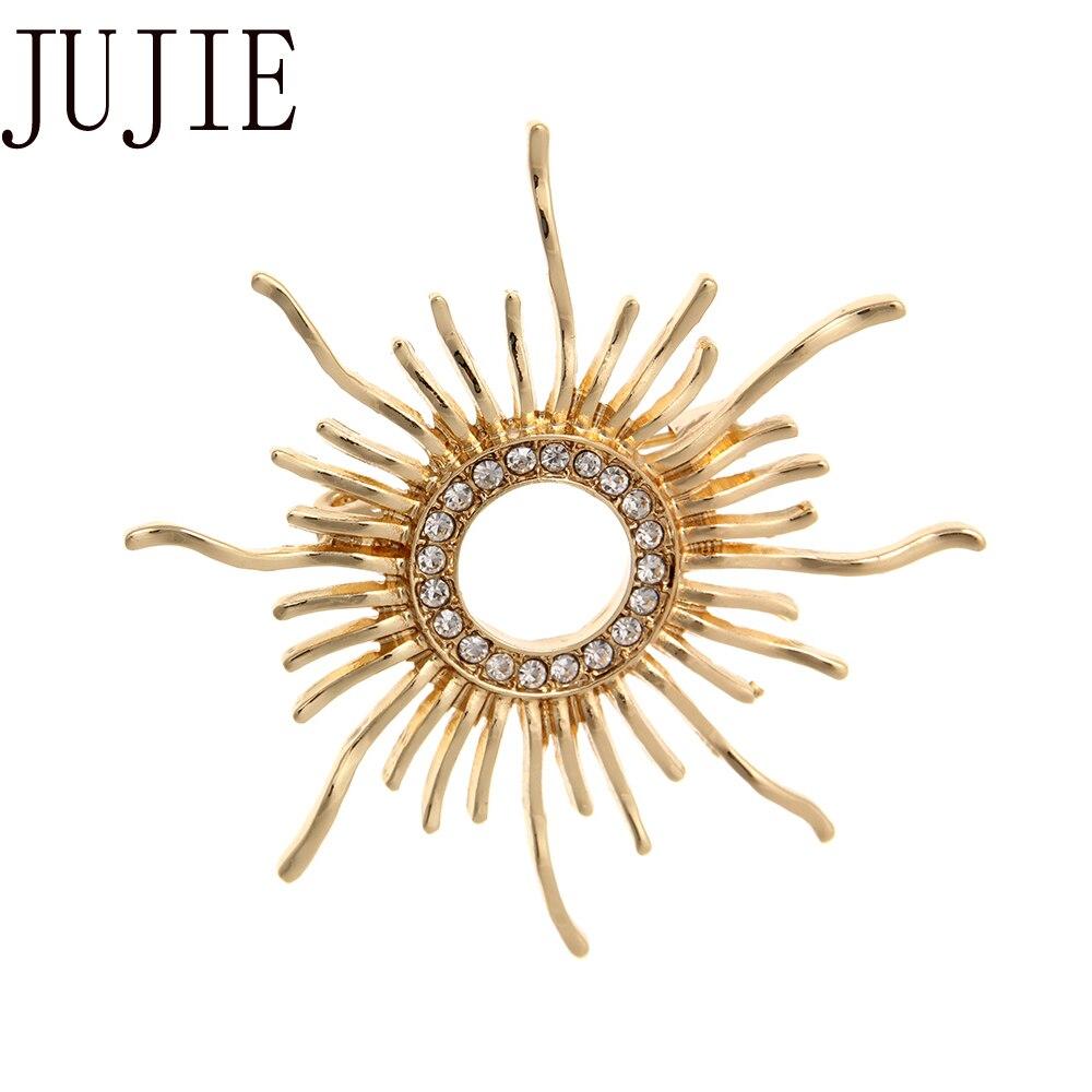 JUJIE-Broche de Sol de Cristal para mujer, broches de girasol, alfileres de...