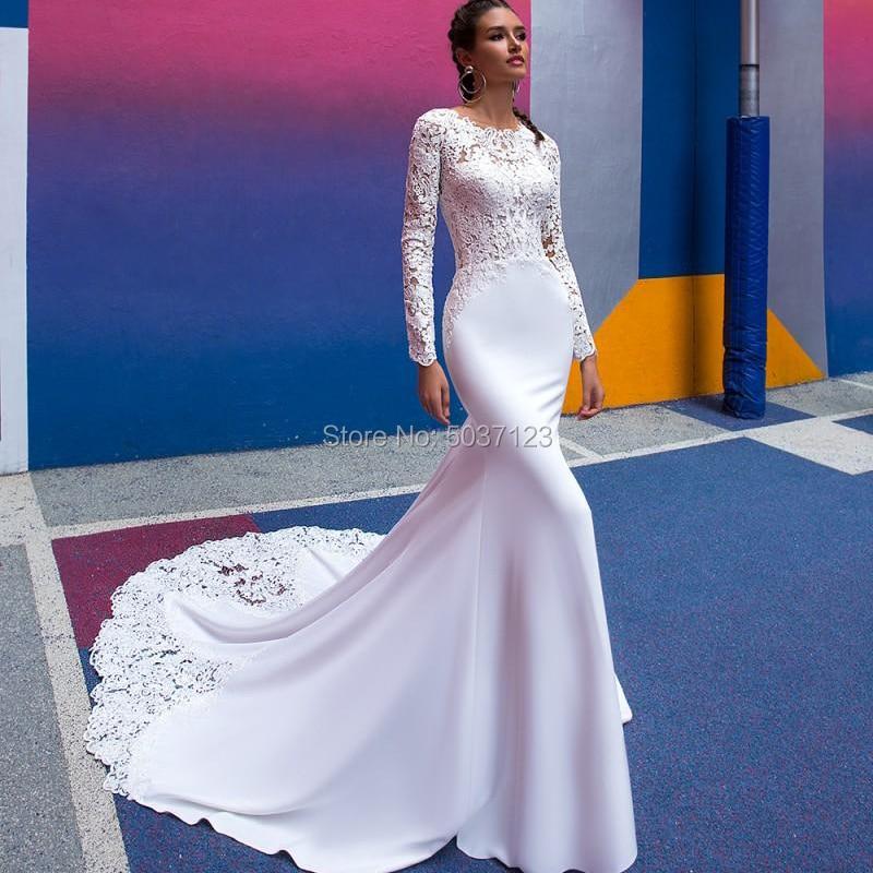 فستان زفاف بقصّة حورية البحر ، أكمام طويلة ، ياقة دائرية ، دانتيل ، طول الأرض ، ذيل محكمة ، فستان زفاف ، 2021