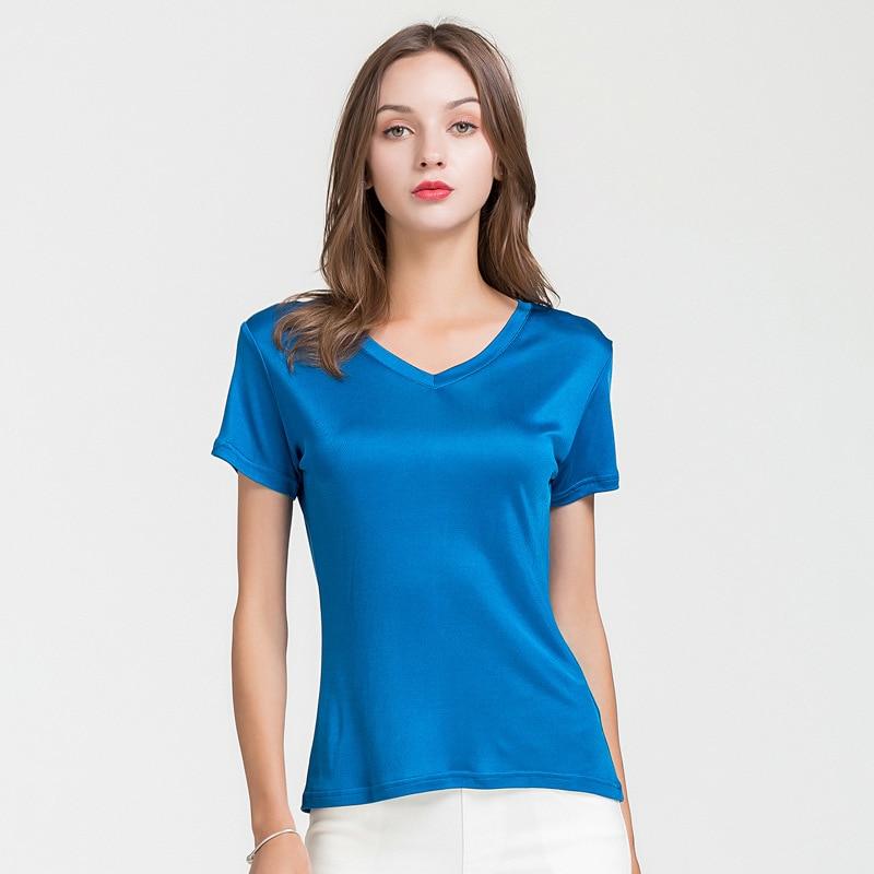 100% Real Silk Women's T-Shirts V Collar Short Sleeve Ladies Wild Candy Color Female Basic Model Women Tee Shirt Tops