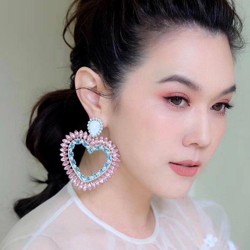 ZA Brand Boutique New Pink Rhinestone Heart Charms Drop Dangle Earrings For Women Fashion Jewelry Bohemian Statement Earrings
