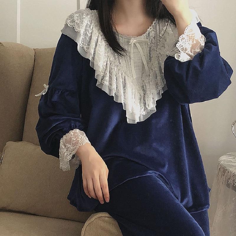 High Quality Thick Bright Velvet Women's Pajamas Sets Autumn Winter Vintage Sweet Female Flannel Pyjamas Long Sleeve Sleepwear